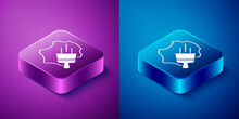 Isometric Leather Icon Isolated On Blue And Purple Background. Square Button. Vector