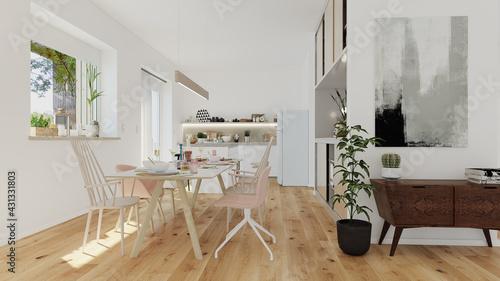 modern luxury european apartment loft with scandinavian furniture design - fototapety na wymiar