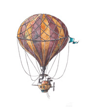 Watercolor Illustration Of A Steampunk Hot Air Balloon. Fantastic Striped Airplane. Fantasy