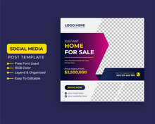Modern Creative Real State Home Rent  Social Media Post Sale Facebook Cover Page Timeline Web Ad Banner Template