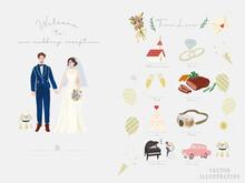 オシャレで可愛いウェディングのイラスト(指輪、教会、ディナー、カメラ、ダンス、ピアノ、ケーキ、ウェディングドレス、タキシード、手紙) Jpg Engagement Ring, Church, Dinner, Camera, Dance, Piano, Cake, Wedding Dress, Tuxedo, Letter.