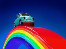 Car Hippie Retro On The Rainbow