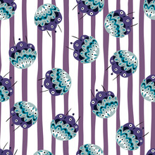 Random Blue Vintage Flowers In Ornamental Folk Style Seamless Pattern. Striped White And Purple Background.