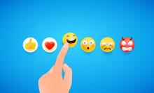 Man Using Reaction In Social Media. Haha. 3d Cute Style Vector Illustration
