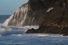 Water Hits Rock, Rodeo Beach, California, USA, At The Marin Headlands Recreation Area, Close-up On Waves Washing The Rocks