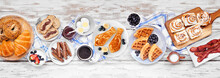Fathers Day Brunch Table Scene. Overhead View On A White Wood Banner Background. Tie Pancakes, Mustache Toast And An Assortment Of Dad Themed Food.