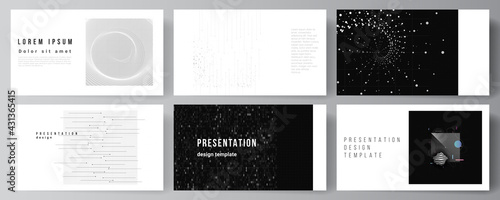 Fototapeta Vector layout of the presentation slides design business templates, template for presentation brochure, brochure cover, report. Abstract technology black color science background. High tech concept. obraz