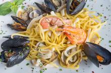 Spaghetti With Seafood Called Spaghetti Allo Scoglio Is A Typical Seafood Dish Of Italian Cuisine