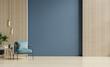 Leinwandbild Motiv Stylish Modern wooden living room has an armchair on empty dark blue wall background.