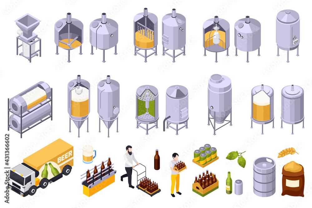 Obraz Brewery Beer Production Set fototapeta, plakat