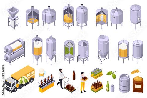 Fototapeta Brewery Beer Production Set obraz