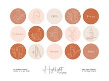 Set Of Hand Drawn Line Art Boho Style Vector Illustrations. Vector Set Design Templates Icons And Emblems - Social Media Instagram Story Highlight.