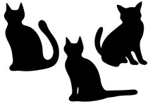 Set Of Black Silhouettes Of Cat In Different Poses Isolated On White Background. Vector Flat Illustration.