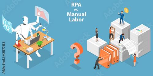 Fototapeta 3D Isometric Flat Vector Conceptual Illustration of RPA vs Manual Labor obraz