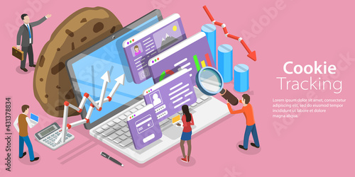 3D Isometric Flat Vector Conceptual Illustration of Website Cookie Tracking - fototapety na wymiar