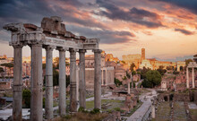 Roman Forum, Rome Italy. Ancient Remains, Cloudy Sky At Sunrise