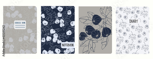 Stampa su Tela Cover page vector templates with fig tree branches and fruit