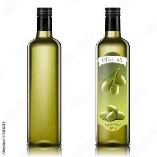 Carta da parati Olive oil glass bottles with olive oil splash