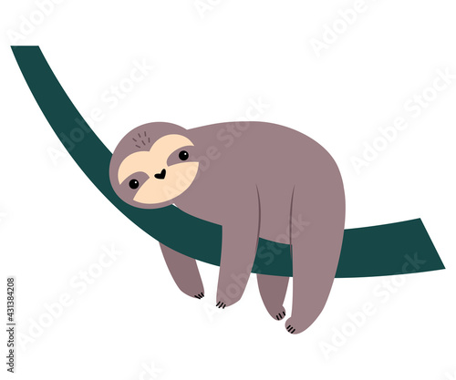 Naklejka premium Cute Sloth Animal, Exotic Tropical Fauna Element, African Savanna Inhabitant Cartoon Vector Illustration