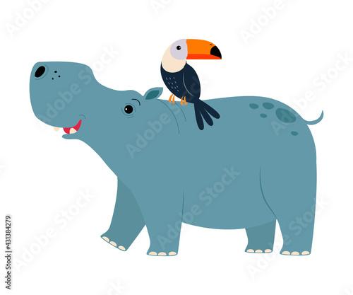 Fototapeta premium Cute Hippopotamus and Toucan Animals, Exotic Tropical Fauna, African Savanna Inhabitant Cartoon Vector Illustration