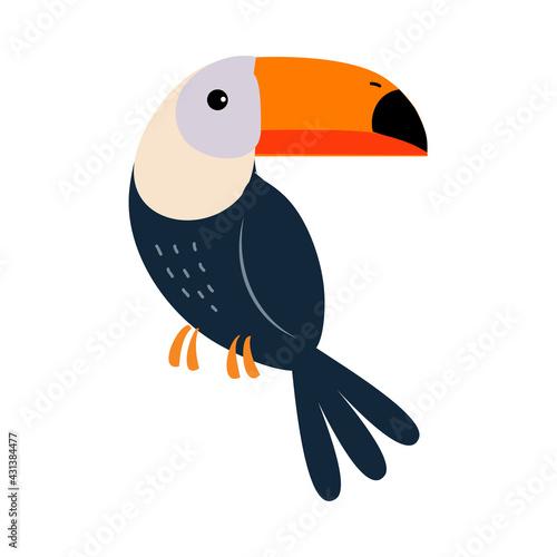 Fototapeta premium Cute Toucan Bird, Exotic Tropical Fauna Element, African Savanna Inhabitant Cartoon Vector Illustration
