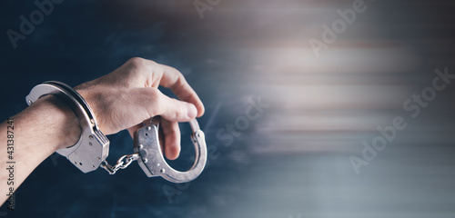 Cuadros en Lienzo men handcuffed in criminal concept