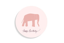Pink Elephant Card Vector Background