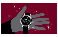 Expensive Gift. Stylized Drawing Of Precious Watch On The Palm. Vector Image For Illustrations.