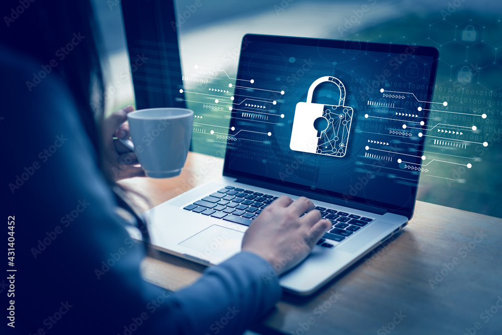 Fototapeta CYBER SECURITY Business  technology Antivirus Alert Protection Security and Cyber Security Firewall Cybersecurity and information technology