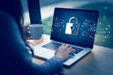 Fototapeta Kawa jest smaczna - CYBER SECURITY Business  technology Antivirus Alert Protection Security and Cyber Security Firewall Cybersecurity and information technology