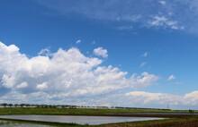 爽やかな田舎の空 河川沿いの 風景