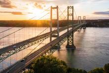 The Sun Setting Behind The Narrows Bridge In Tacoma Washington
