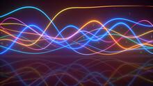 Bright Sound Waves Oscillating 3D Render Illustration