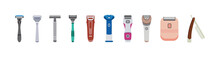 Set Of Electric And Straight Razors, Shavers With Sharp Blades For Hair Removal.