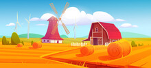 Windmill And Barn On Farm Nature Rural Background With Hay Stacks On Field And Eco Wind Mills Under Cloudy Sky. Countryside Farmland Tranquil Summer Time Or Fall Landscape. Cartoon Vector Illustration