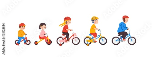 Children of different age riding bicycles, cartoon vector illustration isolated. - fototapety na wymiar