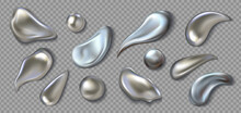 Realistic Metal Drops. 3D Chrome Paint Splash. Mercury Drip And Liquid Silver Blob Shapes. Melted Smears Or Round Droplets On Transparent Background. Vector Glittering Brushstrokes Set