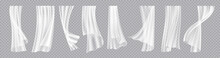 Window Curtains. Realistic Flowing Cloth With Wind Breeze Effect. Interior Decorative Elements. Elegant Lightweight Drapes Template. Hanging Fabric Set. Vector Room Design Accessories
