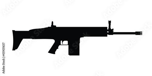 Fototapeta Scar assault rifle black and white vector