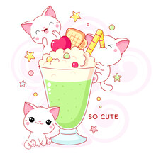 Cute Yummy Card In Kawaii Style. Three Lovely Cats With Mint Cocktail