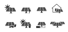 Solar Panel Icon Set. Eco Friendly Power Industry. Sustainable, Renewable And Alternative Energy Symbols