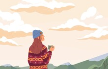 Young Woman Enjoying Peaceful Landscape, Relaxing, Looking At Sky With Clouds, Drinking Tea And Dreaming. Inspiration Concept. Colored Flat Vector Illustration Of Person Alone With Nature