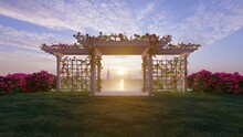 3d Rendering The  Pavilion With Sea  Background