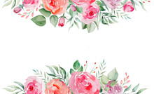 Watercolor Pink And Red Roses Flowers And Leaves Border Illustration