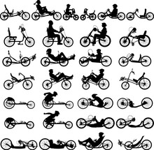 Hand Bike And Recumbent Bicycle Vector Silhouette With And Without Cyclist Rider