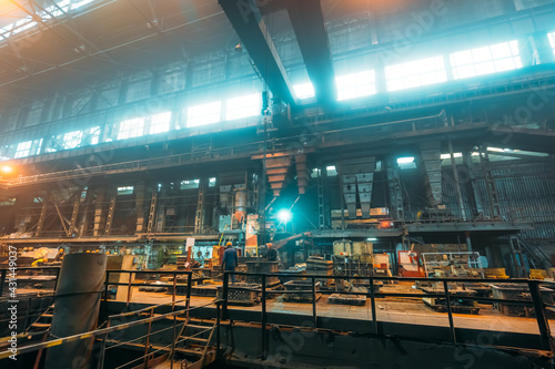 Fototapeta Metallurgical plant or Steel Factory, Large Workshop Interior with industrial equipment and workers, Heavy Industry, Iron and Steelmaking. obraz