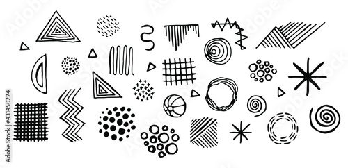 Fotomural black doodles isolated on a white background