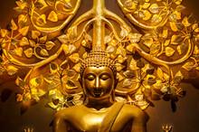 Golden Buddha Statue With Golden Bodhi Tree