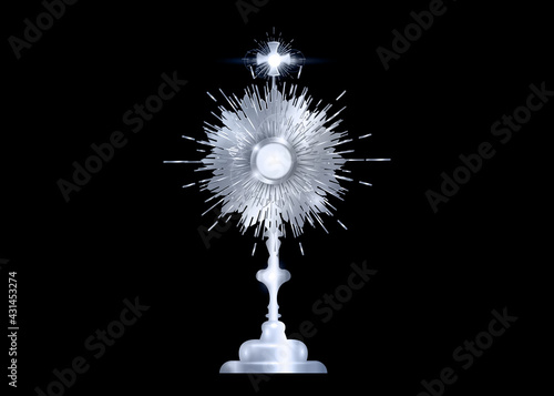 Fotografie, Obraz Monstrance Silver Ostensorium used in Roman Catholic, Old Catholic Anglican ceremony traditions