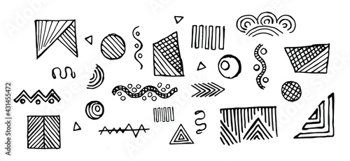 Cuadros en Lienzo black doodles isolated on a white background